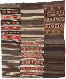 Ćilim Patchwork Sag 210X248 Autentični Moderni Ručno Tkani Tamnosmeđa/Tamnosiva (Vuna, Turska)