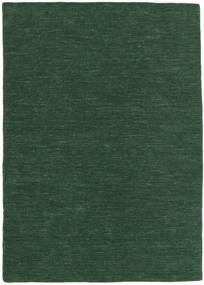 Ćilim Loom - Šumsko Zelena Sag 160X230 Autentični  Moderni Ručno Tkani Tamnozelena (Vuna, Indija)