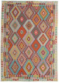 Ćilim Afghan Old Style Sag 206X287 Autentični Orijentalni Ručno Tkani Tamnocrvena/Tirkizno Plava (Vuna, Afganistan)